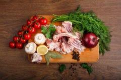Ingrédients pour les nervures du lapin coocking Photo stock