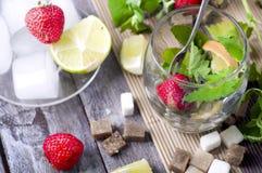 Ingrédients pour un cocktail de mojito Photos stock