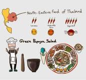 Ingrédients réglés de la salade de papaye Photo libre de droits