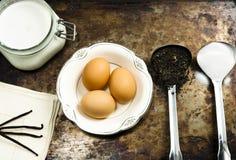 Ingrédients rustiques et faits maison de crème glacée  Image stock