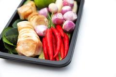 Ingrédients thaïlandais d'assaisonnement de nourriture de Tomyum sur le fond blanc Image stock