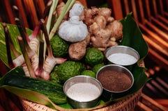 Ingrédients thaïlandais de traitement de station thermale d'herbes et frotter photos libres de droits