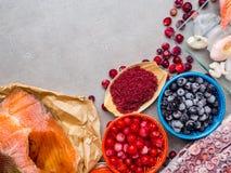 Ingr?dients de nourriture contenant l'astaxanthine, antioxydant, zinc Le concept d'une alimentation saine images stock