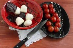 Ingradients för italiensk caprese sallad med den nya basilikasidor, tomaten och mozzarellaen på den röda trätabellen Royaltyfri Foto