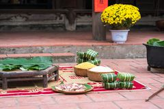Ingradients to make Chung cake, the most important food of Vietnamese lunar new year Tet.  Stock Photos