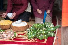 Ingradients to make Chung cake, the most important food of Vietnamese lunar new year Tet.  Stock Image