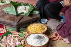 Ingradients to make Chung cake, the most important food of Vietnamese lunar new year Tet.  Stock Photography