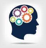 Ingranaggi capi nel logo del sistema di cervello Immagini Stock