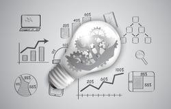 Ingranaggi come elemento di progettazione in una lampadina Immagine Stock