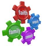 Ingranaggi del lavoro e della Comunità d'equilibratura vita della famiglia di fede Immagine Stock