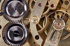 Ingranaggi dell'orologio da tasca antico fotografia stock