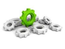 Ingranaggi della ruota dentata con un capo verde di concetto Immagini Stock Libere da Diritti