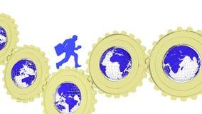 Ingranaggi di affari globali con i globi e l'uomo d'affari illustrazione vettoriale