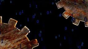 Ingranaggi di codice binario illustrazione di stock