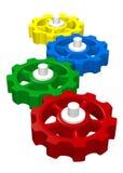 Ingranaggi di collegamento variopinti 3D Immagine Stock