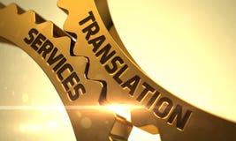 Ingranaggi dorati con il concetto di servizi di traduzione 3d Immagini Stock Libere da Diritti