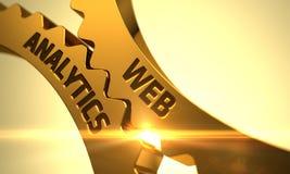 Ingranaggi dorati del dente con il concetto di analisi dei dati di web 3d Immagine Stock