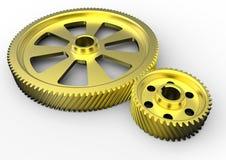 Ingranaggi dorati di ingegneria illustrazione vettoriale