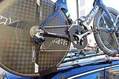 Ingranaggi e Osymetric Chainring sulla bici di Chris Froome Immagini Stock