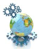 Ingranaggi e pianeta Terra Immagini Stock