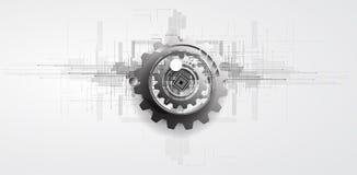Ingranaggi a macchina di tecnologia retro bacground del meccanismo della ruota dentata Fotografia Stock Libera da Diritti