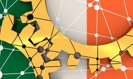 Ingranaggi materiali metallici collegati Bandierina dell'Irlanda Immagini Stock
