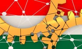 Ingranaggi materiali metallici collegati Bandierina dell'Ungheria Immagine Stock Libera da Diritti