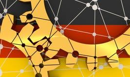 Ingranaggi materiali metallici collegati Bandierina della Germania Fotografie Stock
