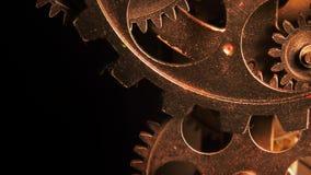Ingranaggi metallici arrugginiti dell'orologio di lerciume industriale astratto stock footage