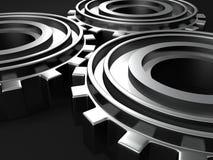 Ingranaggi metallici collegati nello scuro Immagine Stock Libera da Diritti