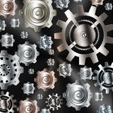 Ingranaggi metallici dell'argento del cromo del fondo astratto Immagini Stock