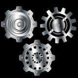 Ingranaggi metallici dell'argento del cromo del fondo astratto Immagini Stock Libere da Diritti