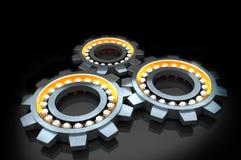 Ingranaggi metallici dell'argento del cromo del fondo astratto Immagine Stock