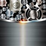 Ingranaggi metallici dell'argento del cromo del fondo astratto Fotografia Stock Libera da Diritti