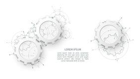 Ingranaggi nell'impegno Fondo industriale dell'estratto del disegno di ingegneria con ruote dentate illustrazione vettoriale