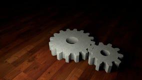 ingranaggi sul pavimento di legno Immagini Stock Libere da Diritti