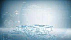 Ingranaggio alta tecnologia su un fondo blu illustrazione di stock
