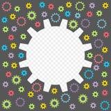 Ingranaggio colorato del bambino isolato su un fondo trasparente Pagina sotto forma di ingranaggi con la possibilità della sovrap illustrazione di stock