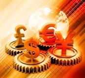 ingranaggio 3d con valuta globale Fotografie Stock
