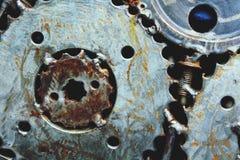 Ingranaggio del metallo e fondo della ruota dentata Immagini Stock