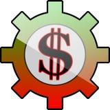 Ingranaggio dell'icona con il simbolo del dollaro Immagini Stock