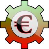 Ingranaggio dell'icona con l'euro simbolo Immagine Stock Libera da Diritti