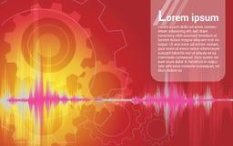 Ingranaggio dell'onda sonora del fondo Illustrazione di Stock