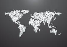 Ingranaggio della mappa di mondo Immagini Stock Libere da Diritti