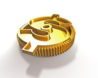 Ingranaggio dorato con il simbolo del dollaro, illustrazione 3D Fotografia Stock Libera da Diritti