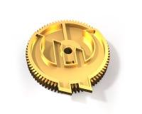 Ingranaggio dorato con l'euro simbolo, illustrazione 3D Immagini Stock