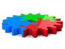 ingranaggio verde blu rosso di puzzle 3d, isolato su bianco Fotografia Stock Libera da Diritti