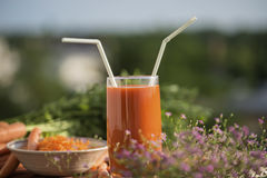 Ingrediënt van gezonde voedingswortelen, in verschillende schotels Royalty-vrije Stock Foto's