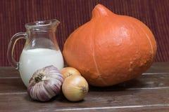 Ingrediënten aan het koken van romige pompoensoep Stock Foto