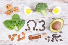 Ingrediënten die omega 3 zuren, onverzadigde vetten en vezel, gezonde levensstijl, voeding en zuur dieetconcept bevatten stock afbeelding